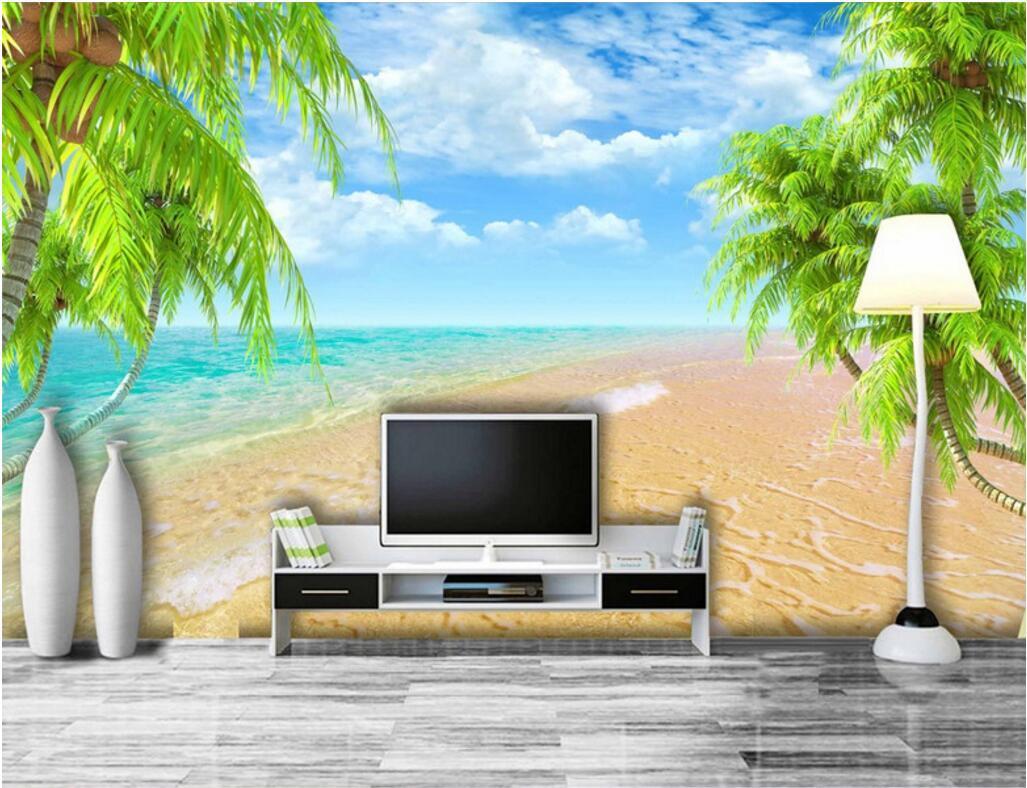 3d sala de fondo de pantalla personalizado mural fotográfico Hawaii cocoteros casa de playa cuadro de la decoración pintura murales del papel pintado 3D para las paredes 3 d