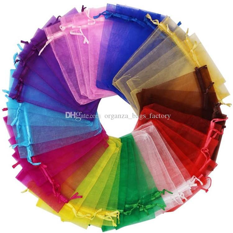 5x7cm 7x9cm 9x12cm 10x15cm jóias de c Bolsa sacos coloridos sacos de cordão Saco Organza presente de doces DIY jóias dom Sacos