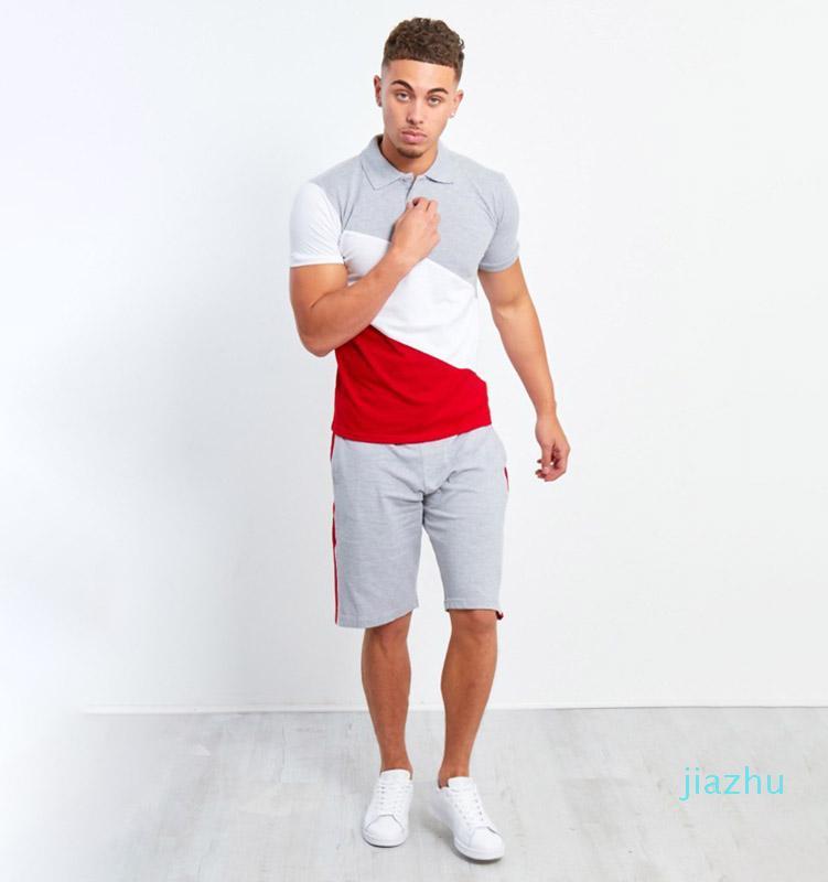 Hot Sale Men's Striped Stitching Tracksuit Hip-hop Mens Muscle Workout Clothes European and American Style Men Polo Shirt Lapel Suit