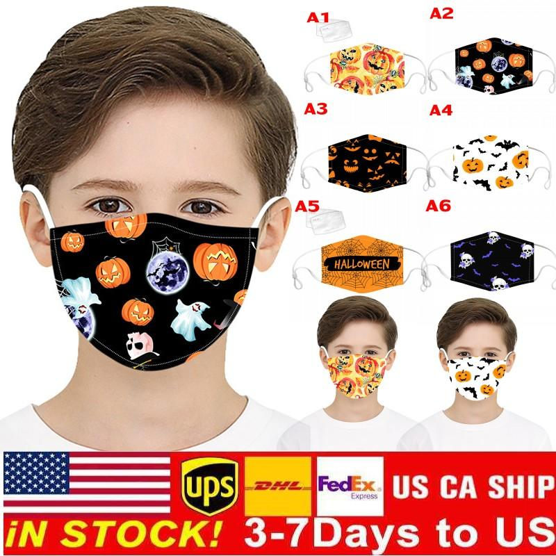 In Stock N Halloween Party Masks Pumpkin Skull 3D Printed Anime Cosplay Fabric Characterize Face Mask for Kids Adjustable Earl Buckle FY9187