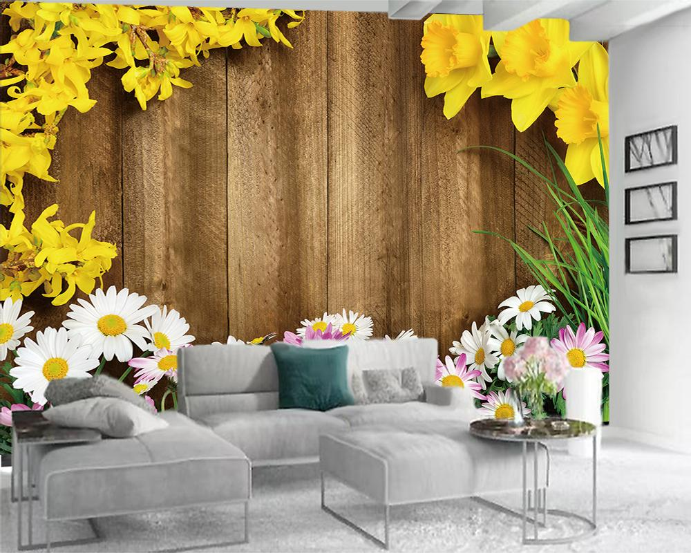 3d Photo Wallpaper 3d Wall Paper for Bedroom Romantic Vintage Wooden Planks Colorful Flowers Living Room Bedroom Wallcovering HD Wallpaper