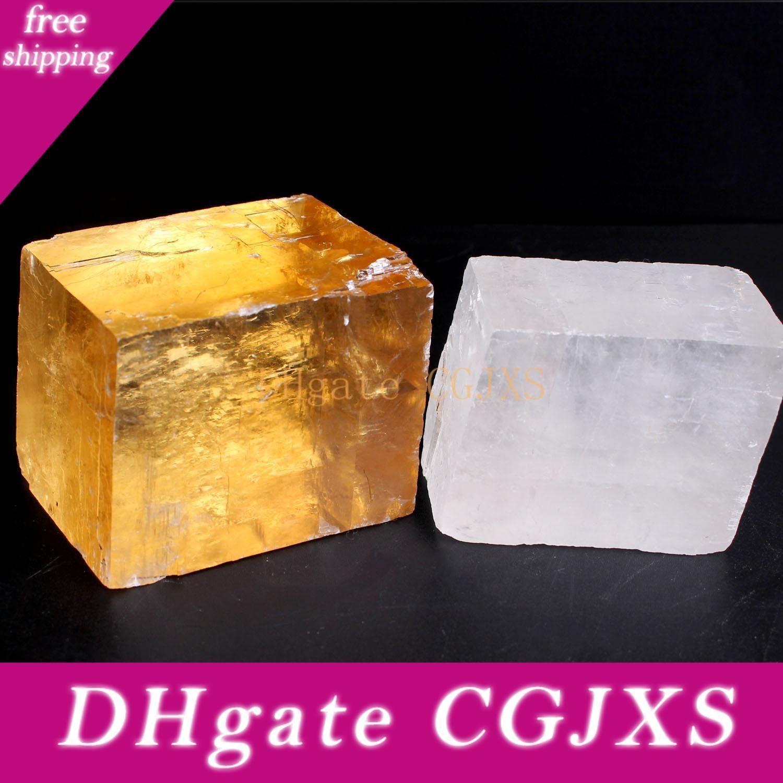 1pc 20 -100g Jaune Transparent Blanc / Naturel Optique Cristal Cube Calcite Spar Islande poignée Pièces Reiki