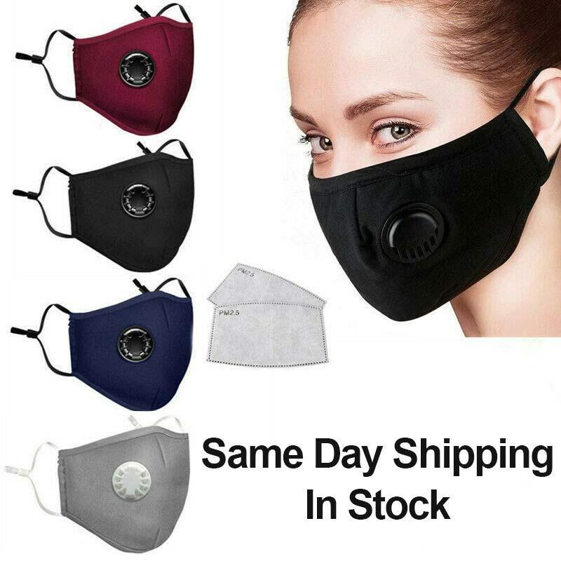 auf Lager Unisex Mund Gesichtsmaske Black Cotton Anti-Staub und Nasenschutz Mode Waschbar Wiederverwendbare Cycling Masken Maske