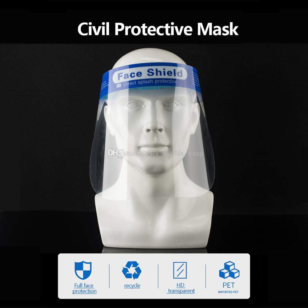 Free DHL Safety Reusable Face Shields Full Face Protection with Anti-Fog Coating and Hypoallergenic Foam Clear Protective Face Mask Shield