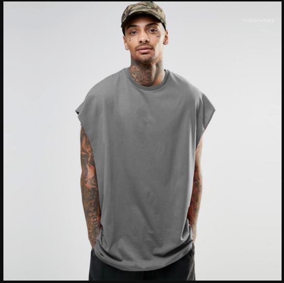 Ocasional sólida de color de verano tops sin mangas camisetas de las camisetas Hiphop High Street para hombre flojo T para hombre de la manga del palo diseñador