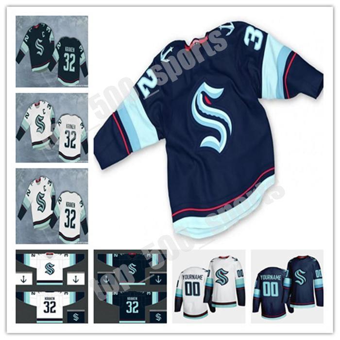 시애틀 Kraken 2021 시즌 하키 유니폼 32th 새로운 팀 사용자 정의 모든 번호 이름 홈 도로 저지 남성 여성 청소년 시애틀 Kraken 유니폼