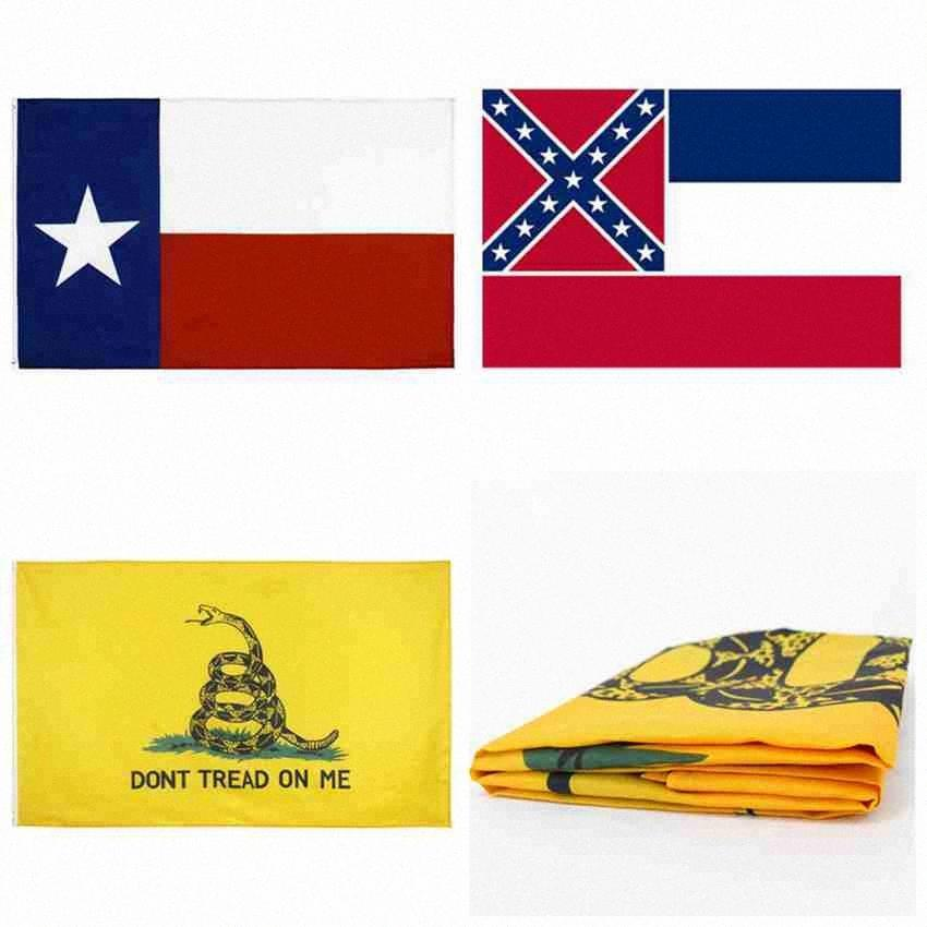 90 * 150cm Mississippi State Flag Frau Staats-Flagge Texas State Flags Gadsden Flaggen USA Polyester Banner Flaggen CYZ2548 200Pcs lEzP #