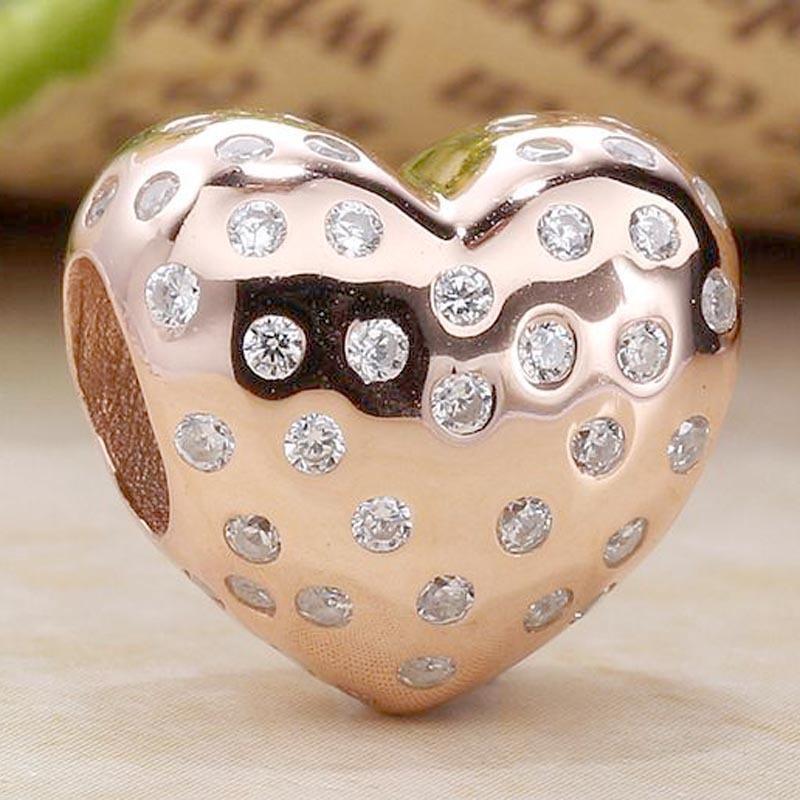 Original Rose céu aberto cintilante Coração Com Crystal Bead Fit prata esterlina 925 Bead encanto pulseira marca Bangle DIY Jóias