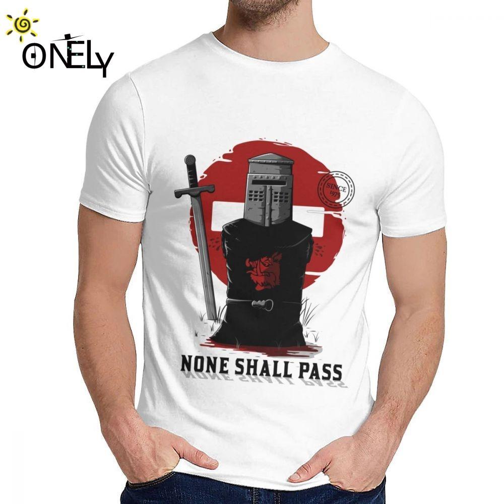 Erkekler T Shirt Yok Monty Python Kutsal Kase Dark Knight Yumuşak Grafik Yuvarlak Yaka Vintage T Shirt Shall Pass