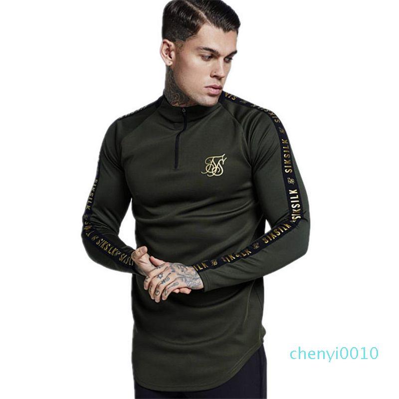 Шик Silk Испания Рубашка Мужчина SikSilk с длинным рукавом Футболка Мужчины осенью фуфайка Hip Hop Streetwear Сик Tshirt Шелк Толстовка MX200509 c10