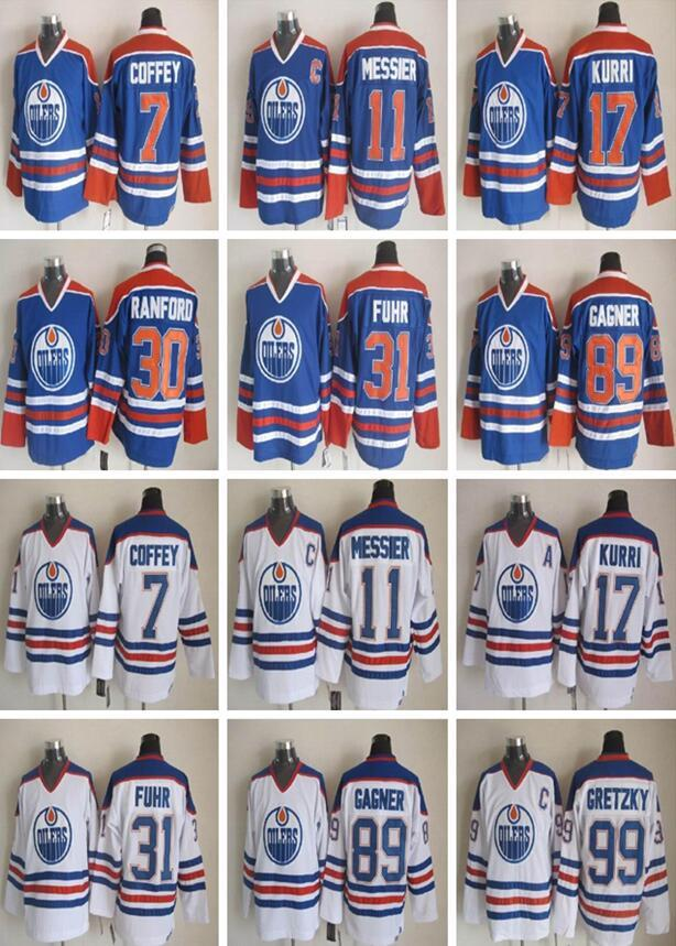 Edmonton Maillots CCM Old Time Hockey sur glace Paul Coffey Mark Messier Jari Kurri Bill Ranford Grant Fuhr Sam Gagner Wayne Gretzky Jersey
