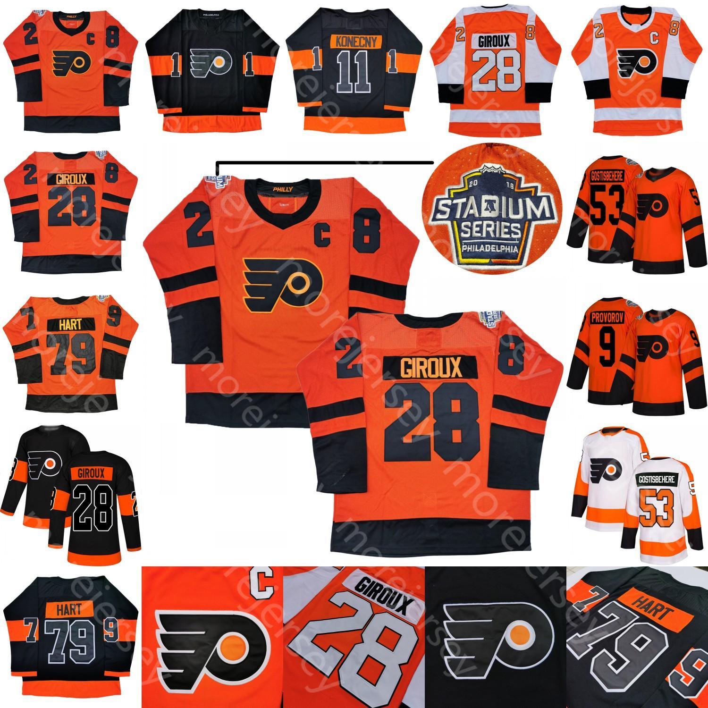 Custom Philadelphia Flyers Jersey de hockey sur glace Claude Giroux Carter Hart Travis Konecny Jersey Shayne Gostisbehehere Ivan Provorov Tous cousus
