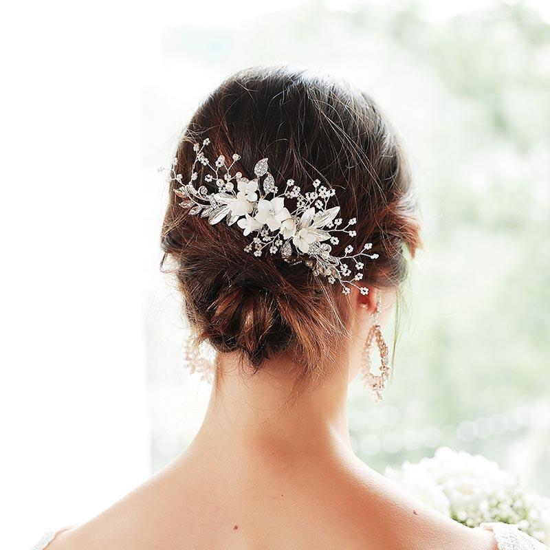 Handgemachte silberne Farbe Kristallperlen Blume Blatt Haarkämme Haarnadel Clips Brauen Noiva Hochzeit Haarschmuck Zubehör