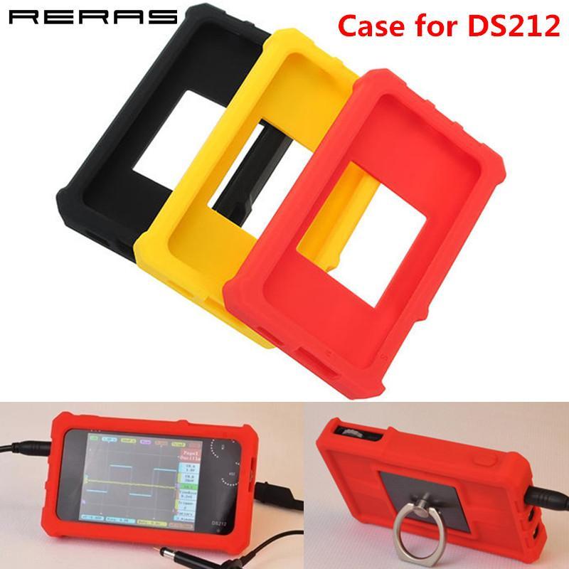 Funda de silicona suave para el anillo de almacenaje de la cubierta protectora del osciloscopio digital DSO DS212 Mini sostenedor del soporte de Shell Bolsa Rojo Negro Amarillo