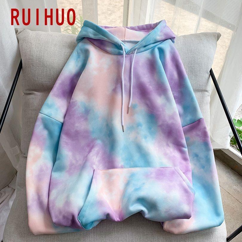 RUIHUO Tie Dye Hoodies Mens Sweatshirt Harajuku Hooded Sweatshirt Men Clothing Hoodies Mens Streetwear 2020 New Arrival M-2XL CX200819