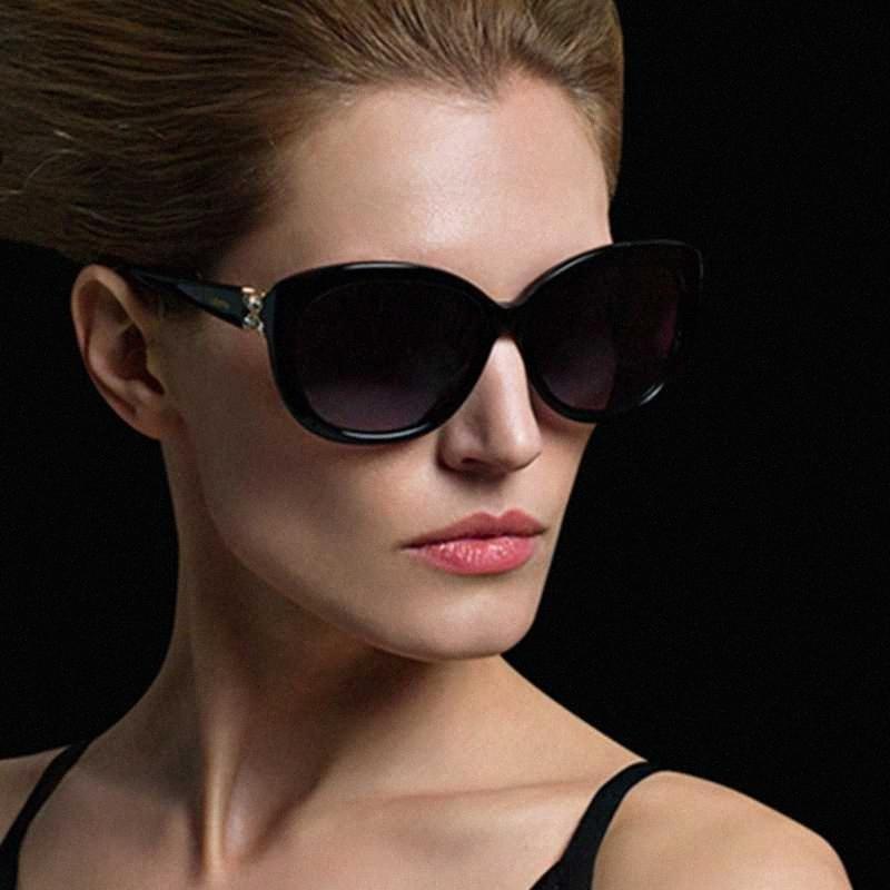 PARZIN Luxurtry Strass Sonnenbrille Frauen-Weinlese-Katzenauge-Polarisations-Brille für Driving-Qualitäts-Damen Sonnenbrille UV400 rWVG #