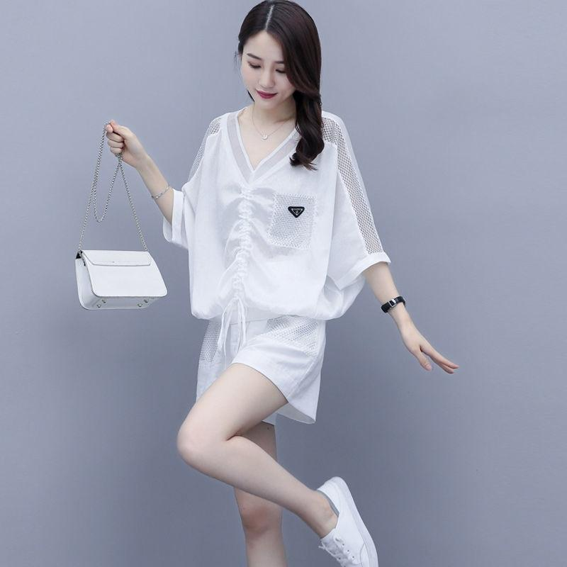 WoLvp 2020 Summer professional large size women's clothing hollow-out Suit two-piece Western style age-reducing new Summer new Korean leisure
