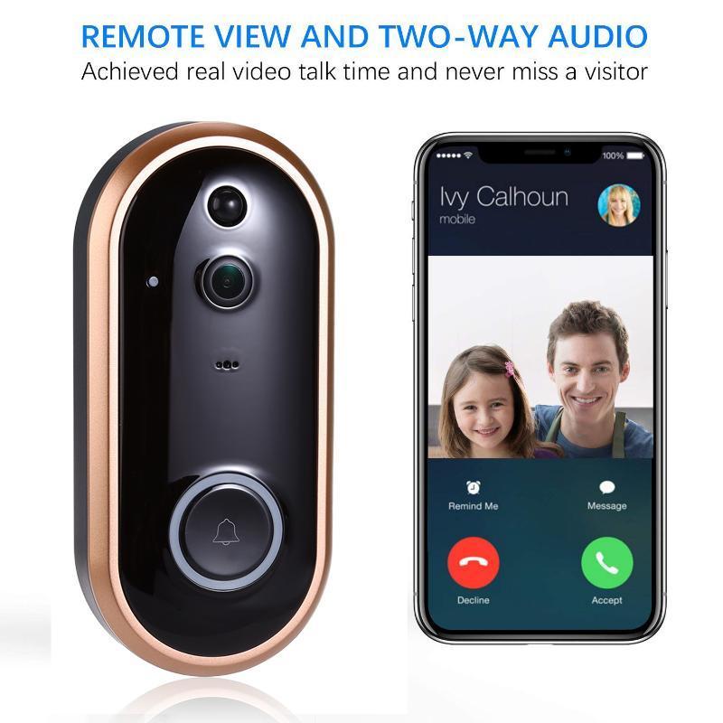 1080P inteligente WIFI campainha Intercom Vídeo Anel campainha da porta com câmera IR entrada da porta Alerta Segurança sem fio Chime Cam Alarm