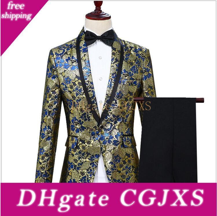 Three Pieces (Blazer Pant Bow Tie )Performance Men Costume Suits With Shawl Lapel One Button Color Gold Wedding Men Tuxedos