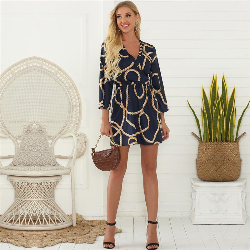 Neck-Kleid mit Blumenmuster der Frauen Desginer Etuikleid Sommerferien Damenmode Vintage-Kleider Mannschaft