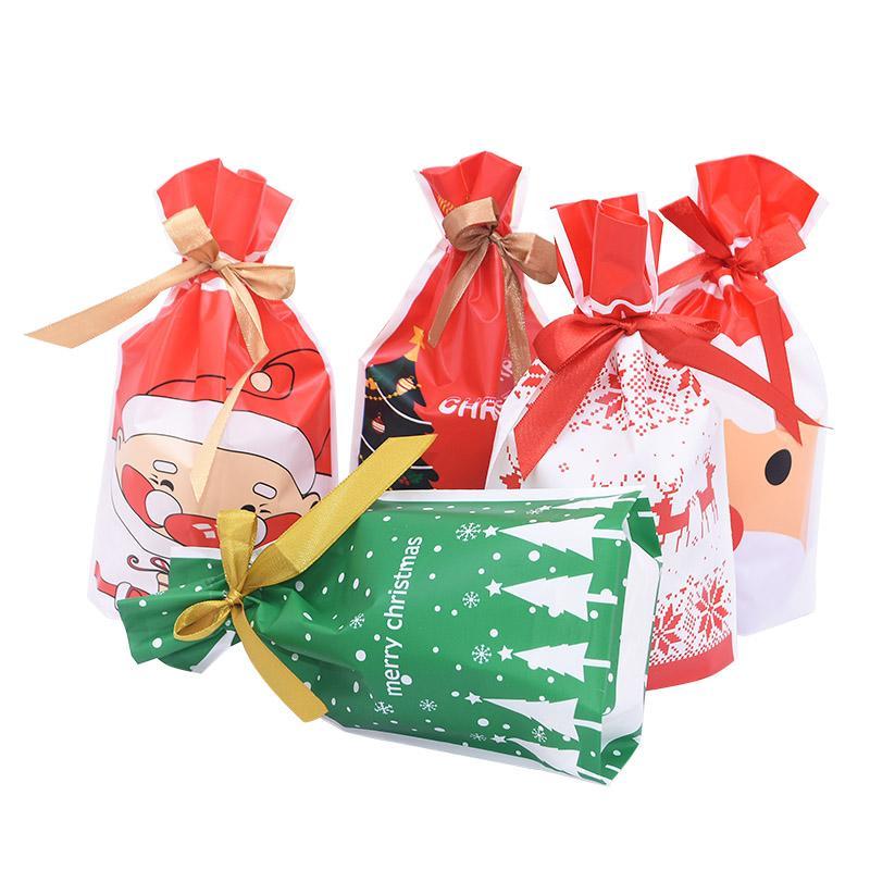 5 / 10pcs de Navidad Caramelo Bolsas Papá Noel lindo Impreso bolsa de plástico Feliz Navidad Año Nuevo regalo de dulces suministros de embalaje Snack-7
