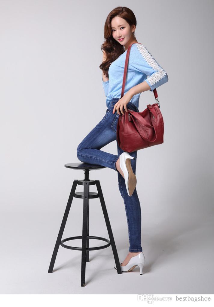 Designer épaule douce femme chaude cuir casual sacs à main sacs femelle unique pour véritable 2020 fourre-tout VSLQS