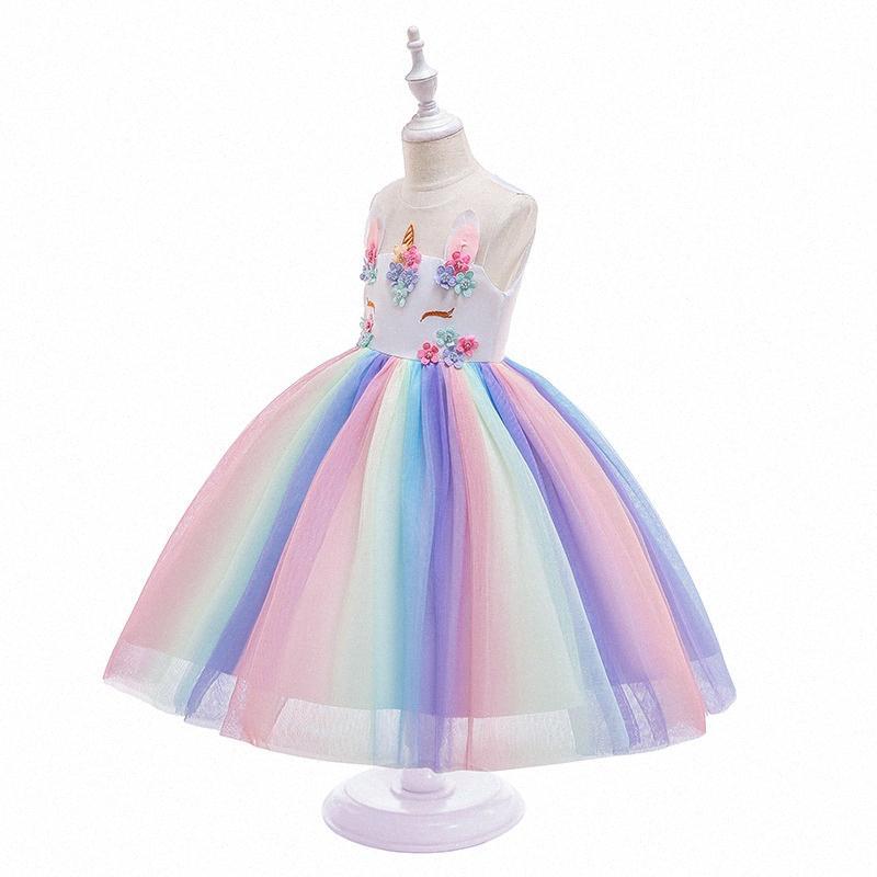 Ropa de gasa vestido de las muchachas de los nuevos niños del color de empalme del unicornio niñas hinchada de la princesa vestido de fiesta de Navidad de los niños del traje O25r #