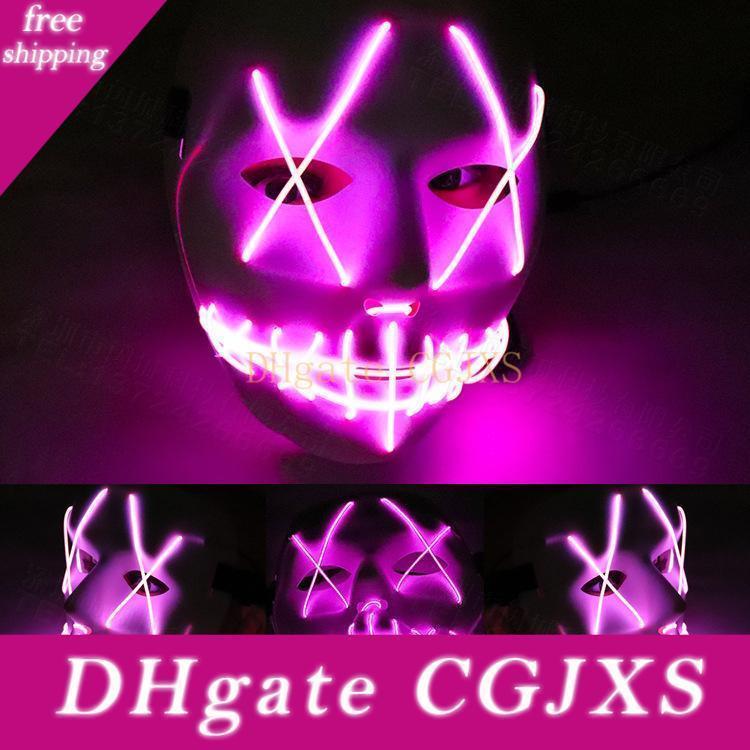 Led Light Mask Up engraçado From The Purge do ano da eleição do traje grande para Festival Cosplay Halloween Cosplay Brilho In Dark