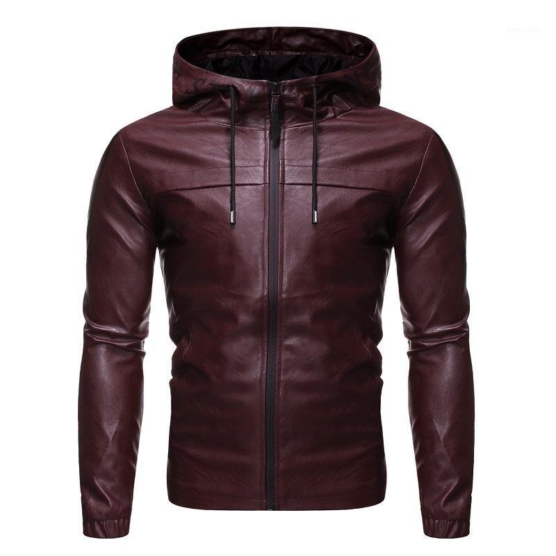 Uzun kollu İnce Deri Casual Giyim 2020 Erkek Tasarımcı Kapşonlu Ceketler Fermuar Yaka Boyun Coats Mens