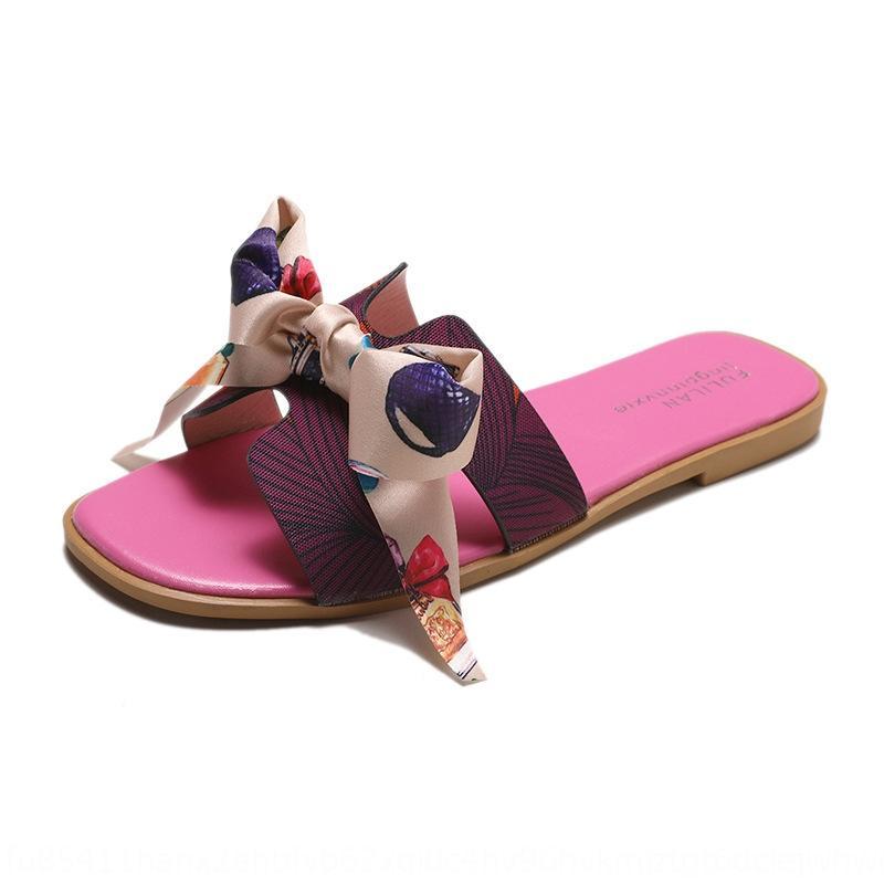 estate delle donne celebrity style piatto coreano arco Internet all'aperto indossare tutto-fiammifero farfalla pantofole spiaggia pantofole WtR2g