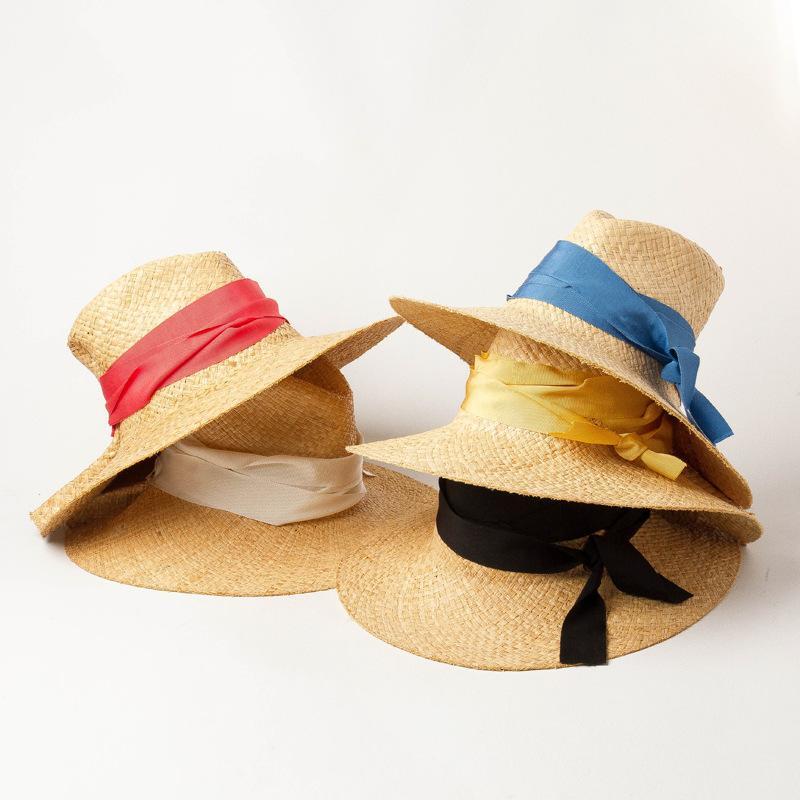 الشريط على نطاق واسع القوس متماسكة جنبا إلى طبقة مزدوجة رافي العشب الجاز قبعة في الهواء الطلق الشاطئ الظل قبعة من القش