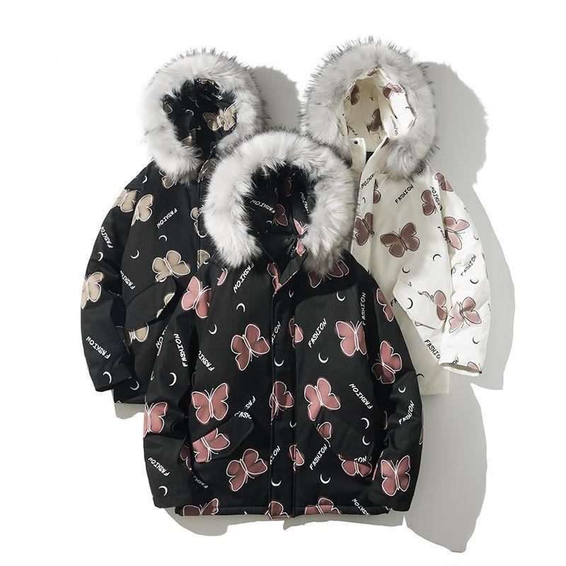 2020 homens inverno coreano Streetwear Parka com capuz homem branco Moda Roupa grandes tamanhos Aqueça 2 cores do revestimento da borboleta Impresso masculino