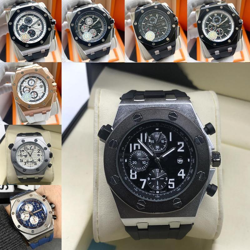 Fashion Royal Oak Offshore Chronograph Designer-Uhr-42 Ginza Roségold Zifferblatt schwarz Lederband Quarz Herrenuhr Armbanduhr CLMV #