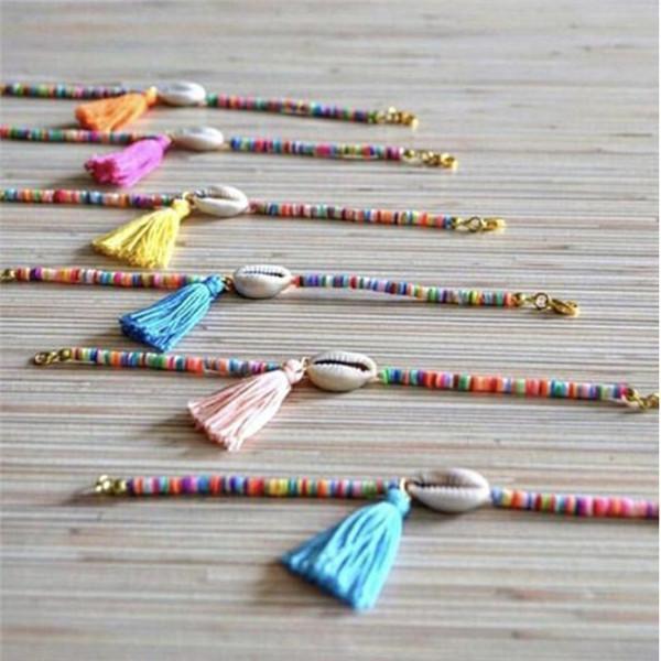 Shell de la manera de la borla de pulseras para las mujeres colorido hecho a mano pequeña plateada grano de arroz playa del verano del Brazalete de Oro Ajuste joyería del regalo del partido -Y