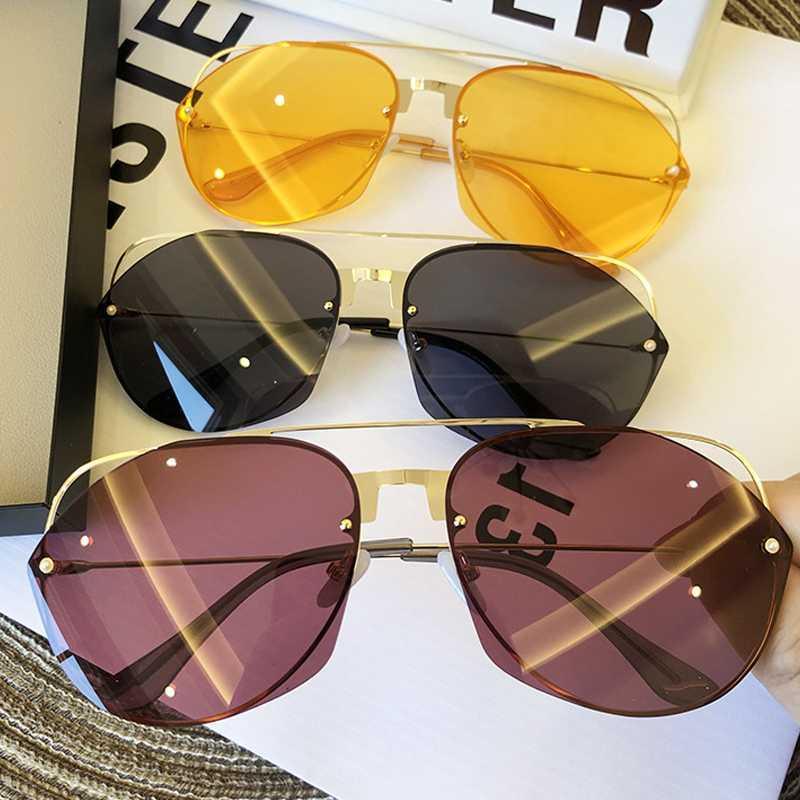Gläser Hohl Legierung Sonne Sonnenbrille Gelbe Katze Eye Übergroße Einzigartige Marke Metall Vintage Aviation Männer Frauen Red Eyewear schwarz Uwedk