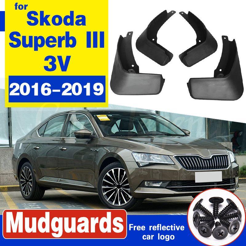 Set Moulé voiture boue Rabats pour Skoda Superb III 3V 2016-2019 bavettes garde-boue BOUE Garde-boue arrière garde-boue avant Styling