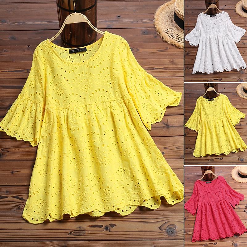 2020 ZANZEA Moda Nakış Bluz Kadın Yaz Gömlek Seksi Hollow blusa Casual Yarım Ruffle Kol Chemise Kadın Tunik 5XL Y200828