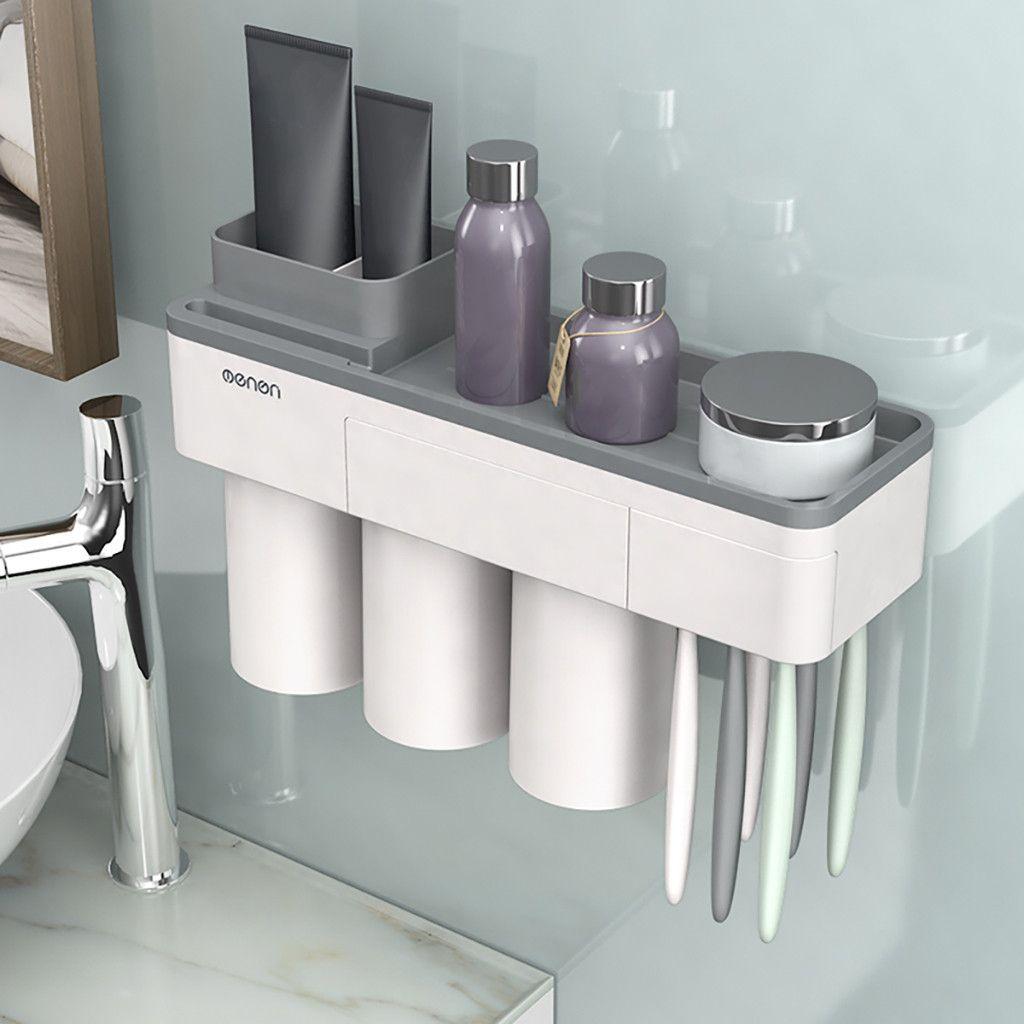 Salle de bains casier de rangement mural monté brosse à dents support de dentifrice plastique facile à nettoyer et stocker trois tasses L0807 T200507