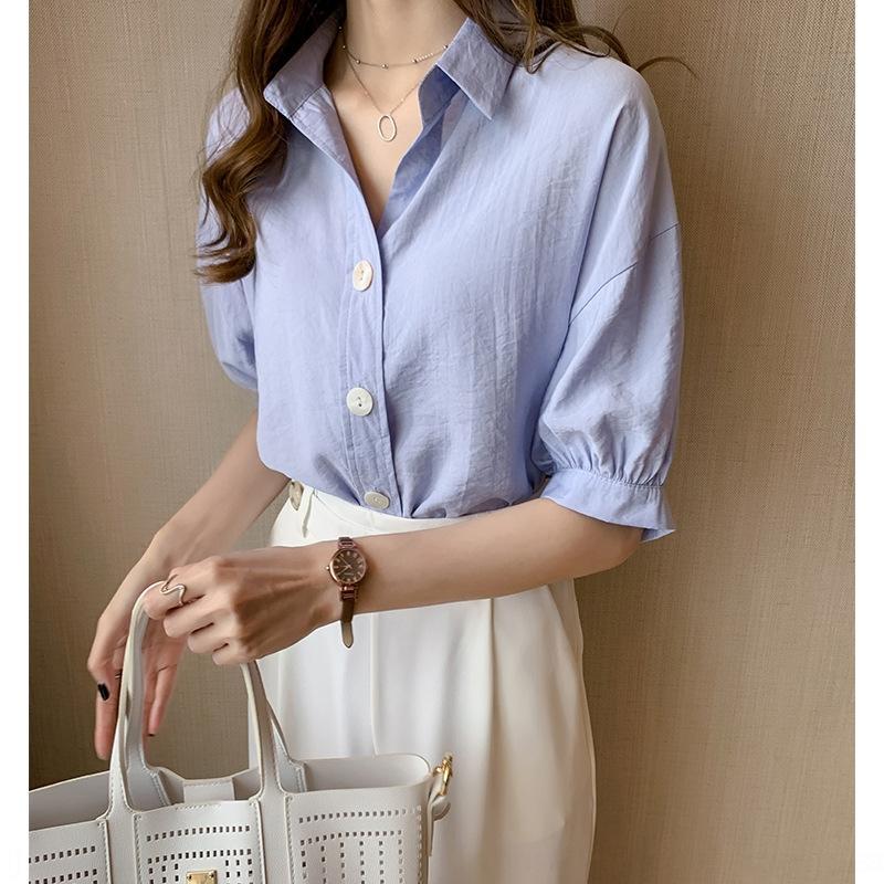 rPpIy niche Summer new fashion temperament vyDf8 design white Top white sense women's top loose lantern sleeve shirt base shirt fashion