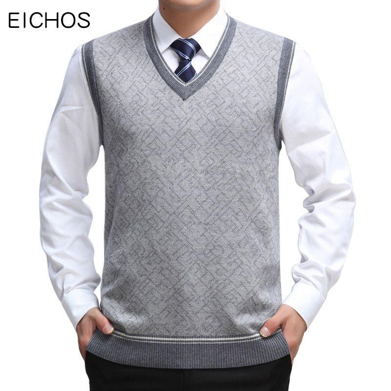 EICHOS Hommes Gilet laine Pull sans manches Gilet Homme d'affaires décontractée col en V Pull en cachemire tricoté hommes 0228MY