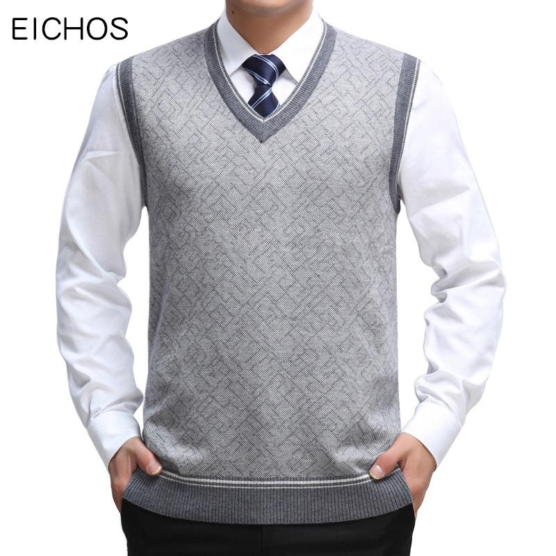 EICHOS Mens Sweater Vest Lã pulôver sem mangas Colete Business Casual Masculino V Neck malha Cashmere Sweater Homens 0228MY