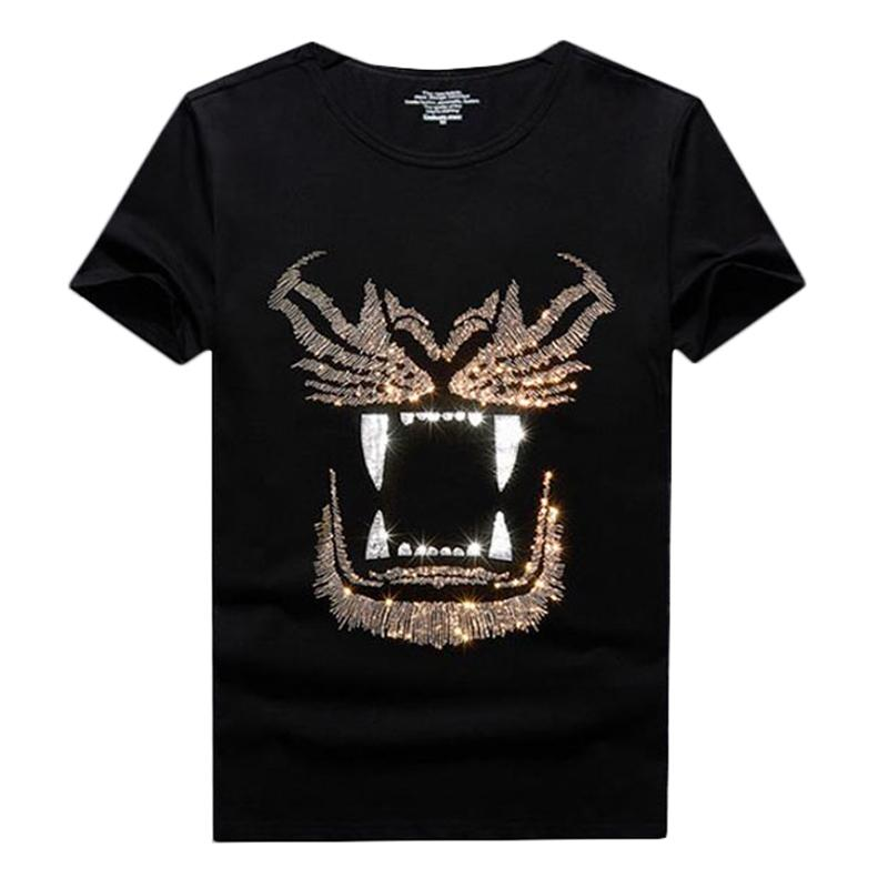 Günlük Parlak Yapay elmas Kısa Kollu Yaz için Erkekler tişört Mürettebat Boyun Streetwear Tee Slim Fit Gömlek Tops