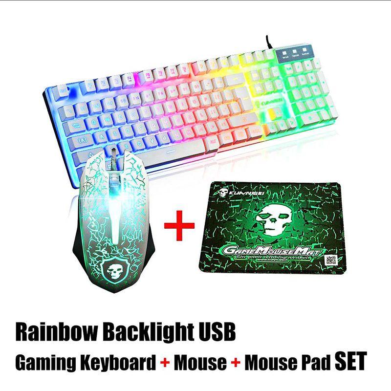 LED Backlight Arcobaleno USB ergonomico Wired Gaming Keyboard + 2400DPI mouse + Mouse Set Kit rilievo per computer portatile del PC Gamer NUOVO