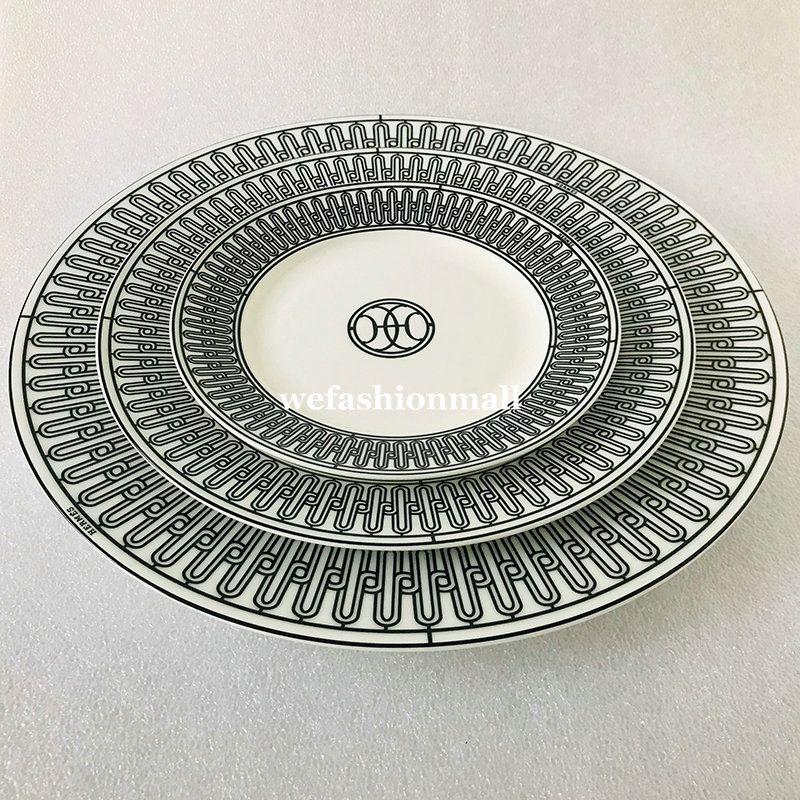 الراقية السيراميك أدوات المائدة سوداء خط لوحات مجموعة العظام الصين أواني الطعام الأطباق الخزف 6 بوصة 8 بوصة لوحة مسطحة كوب وسكير أزياء المنزل