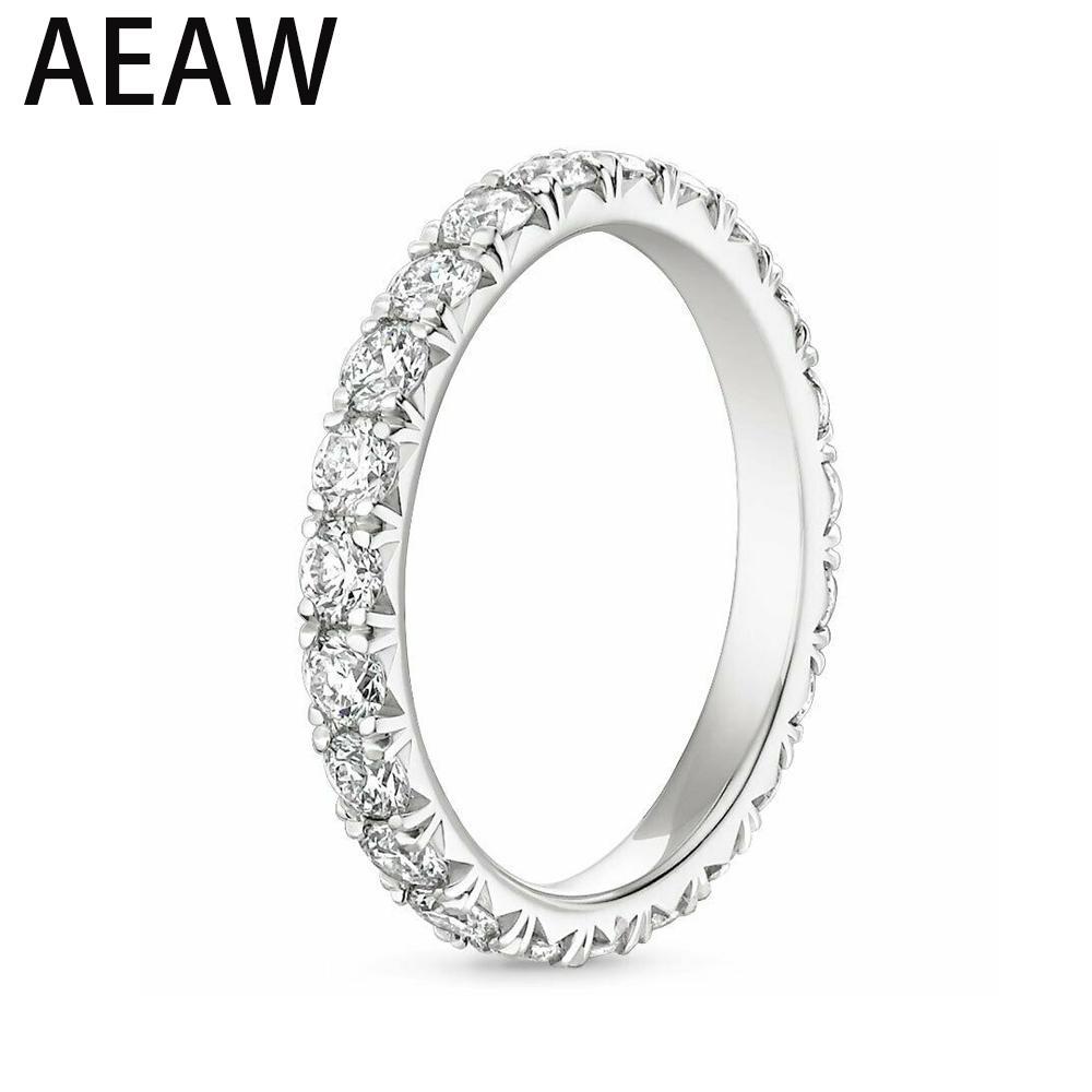 AEW sólido 14K 585 White Gold 1.2-2ctw 2,5 a 3 mm DF Cor Moissanite Eternity casamento da faixa Moissanite anel por Mulheres Ladies Anel T200905