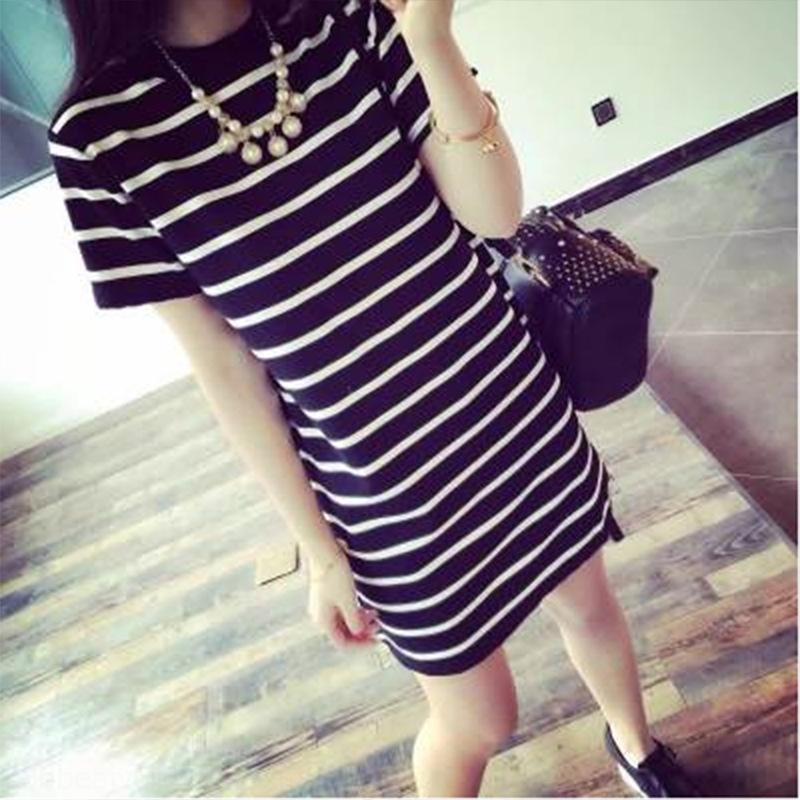 motivo a righe T-shirt carne che copre lunghezza media dei pVIXy 7eBNl nuove donne coreano T-shirt a maniche corte nera stile orizzontale e nero sciolto