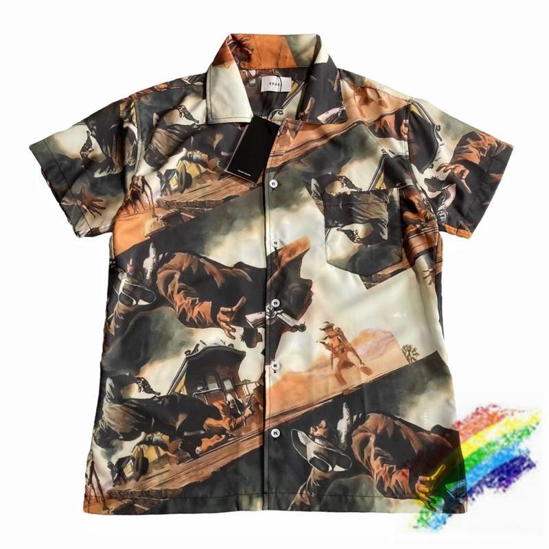 Yazdırma Gömlek Erkekler Kadınlar 1 Üst Kalite Yaz Plaj Stil Gündelik Gevşek En Gömlek