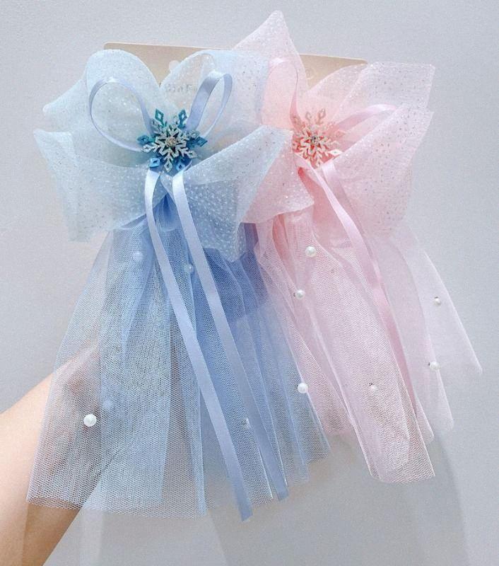 Clips de copo de nieve de cristal accesorios para el cabello pelo para las muchachas niños de verano corbata niñas de las horquillas de la borla azul XK5N #