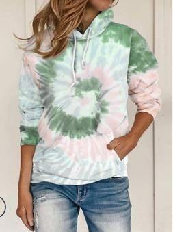 solta das mulheres tie-tingida impresso encapuzados de mangas compridas para o outono e inverno 2020 camisola tie-dye solta de mulheres impresso sweaterhooded longo slee