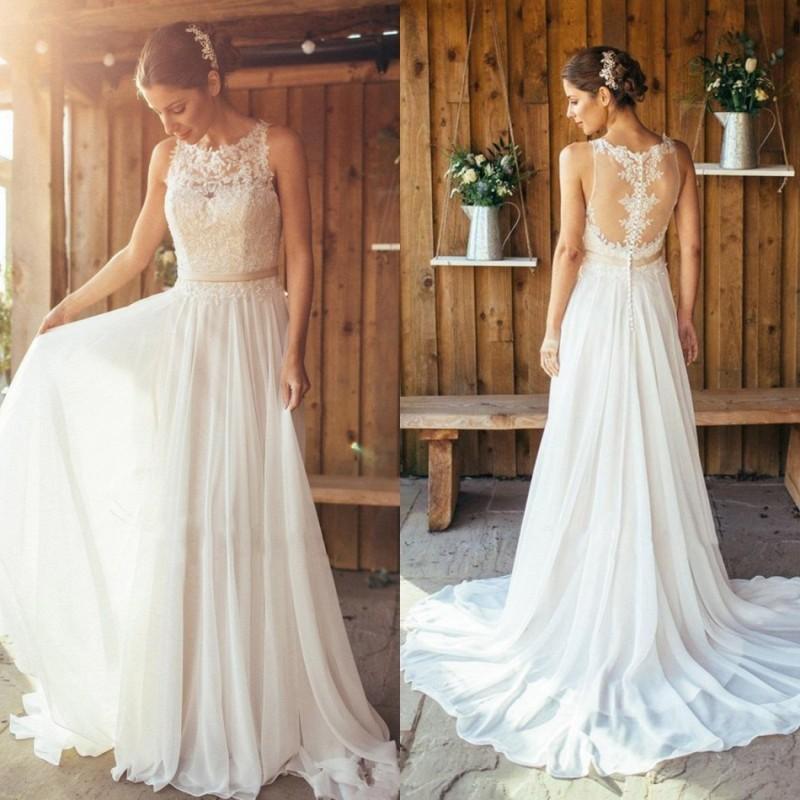 2021 богемского шифоновые A-Line Свадебные платья Кружева Аппликации Пляж Свадебные платья Кнопка Назад Sweep Поезд Страна BOHO свадебное платье